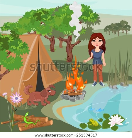 Landscape with girl and puppy - stock photo