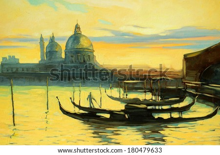landscape with gondolas to Venice, painting, an illustration - stock photo