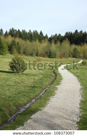 Landscape with grass,sky road - stock photo