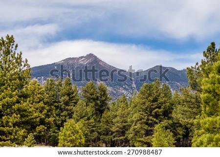 landscape with Humphreys Peak Tallest mountain in Arizona - stock photo
