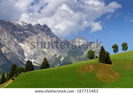 Landscape with meadows and trees at the foot of mountain Hochkonig against beautiful sky with clouds in summer, Dientan am Hochkonig, Salzburg, Austria - stock photo