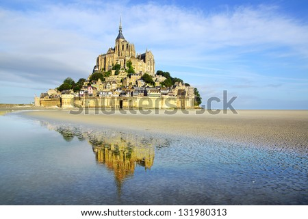 Landscape with Mont Saint Michel abbey. Normandy, France. - stock photo
