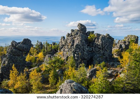 Landscape with mountains and taiga in the Urals - stock photo