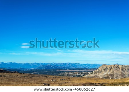 Landscape with mountains in the background taken in the Beartooth Mountains in Montna - stock photo