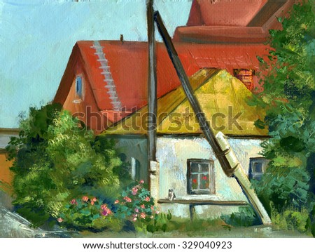 landscape with old haus, sketch in oils - stock photo