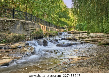 Landscape with river Olkhovka in park of city Kislovodsk. Northern foothills of Greater Caucasus  - stock photo