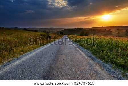 Landscape with road going through corn fields at sunset - stock photo