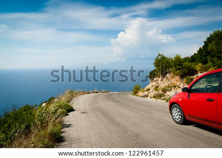 Landscape with road in mountain along coast (greek island, Zante) - stock photo