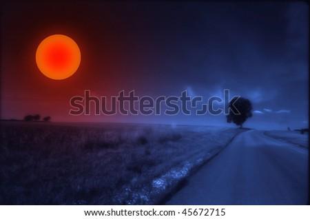 Landscape with sun - stock photo