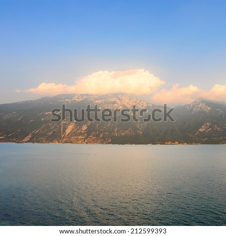 Landscape with the Lake Lago Di Garda in Italy, Instagram Effect - stock photo