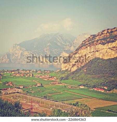 Landscape With The Lake Lago Di Garda, Italy, Instagram Effect - stock photo