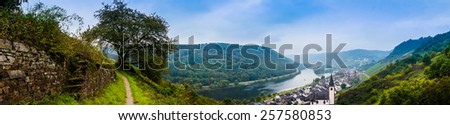 Landscape with the river Moselle in Germany. panorama of Moselle valley and Mosel - stock photo
