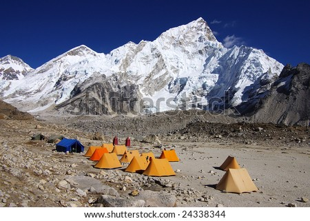 Landscape with the tents in the Gorak Shep - stock photo
