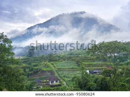 Landscape with traditional Indonesian mountain village. East Java, Indonesia - stock photo