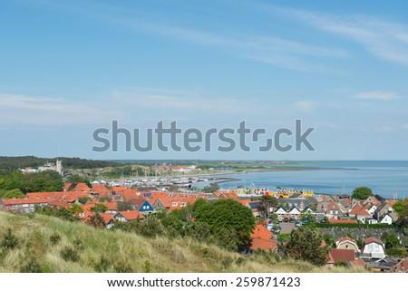 Landscape with village West-Terschelling on Dutch wadden island Terschelling - stock photo