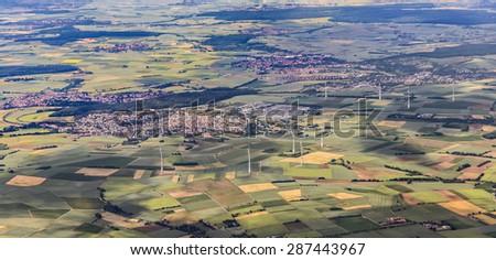 Landscape with wind generators near Frankfurt, germany - stock photo