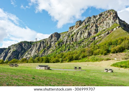 Landscaped Park with Benches for Resting in the Valley of the Cantabrian Mountains in Spain - stock photo