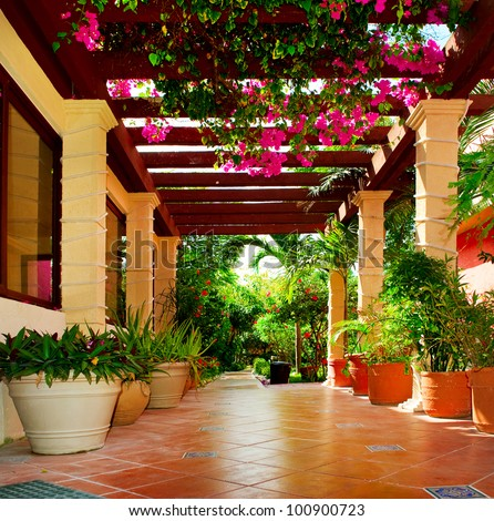 Landscaped terrace of a house with flowers - stock photo