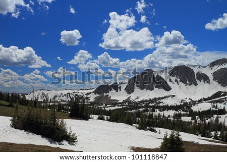 Landscapes in the Snowy Range Mountains of Wyoming - stock photo