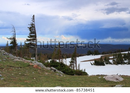 Landscapes in the Snowy Range Mountains of Wyoming, USA - stock photo