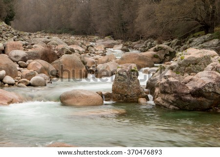 Landscapes of mountain throats of crystalline water - stock photo