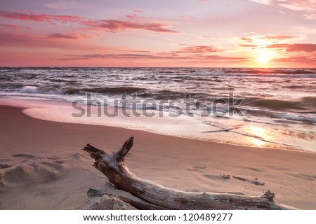 Landscapes of Poland. Beautiful sunset at Baltic sea. - stock photo