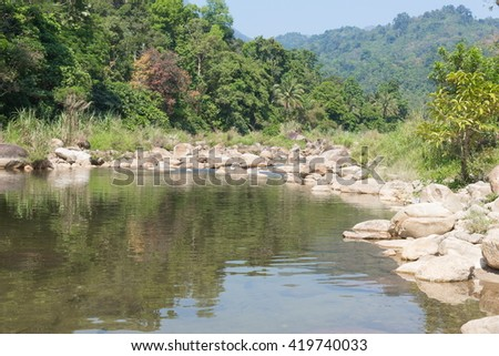 Landscapes,The beautiful fresh air river nature,Mountain stream, soft river and soft-focus background - stock photo
