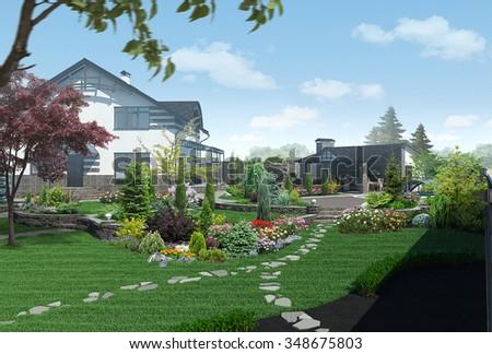 Landscaping garden panorama, 3D render - stock photo