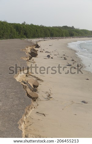 landslide along the beach by water and wind - stock photo