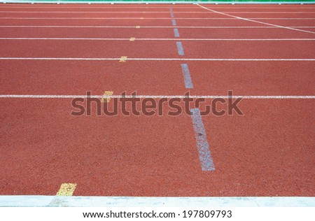 Lane and Line  on start point running track rubber cover - stock photo