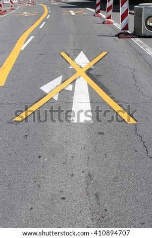 lane marking at German road works - stock photo