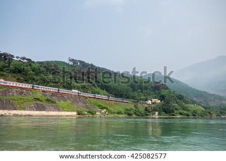 Lang Co Bay, a small town between Hue and Da Nang, Vietnam - stock photo