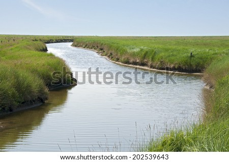 Langeness is an island in the district of north Frisia, Germany. The Hallig is located in the wadden sea in the north sea - stock photo