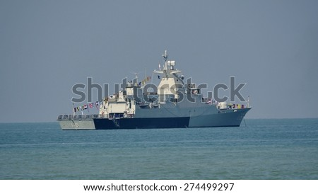 LANGKAWI, MALAYSIA - MARCH 17: JDS Chokai (DDG-176) from Japan Maritime Self-Defense Force, during The Langkawi International Maritime & Aerospace Exhibition at Langkawi Malaysia on 17 March, 2015  - stock photo