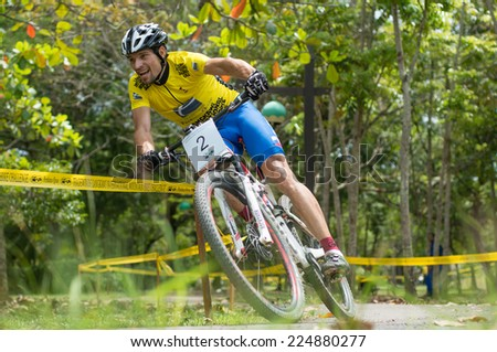 LANGKAWI, MALAYSIA - 18 OCTOBER 2014:  Michal Lami of Slovakia National team in action at Tradewinds LIMBC 2014 on October 18, 2014.  - stock photo