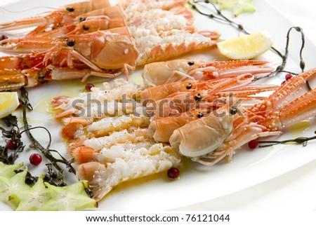langoustines, restaurant, seafood, natural, gourmet, delicatessen, fruit - stock photo