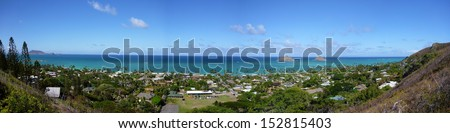 Lanikai Beach  and islands including the Mokulua Panoramic as seen from above in Kailua, O'ahu, Hawai'i - stock photo