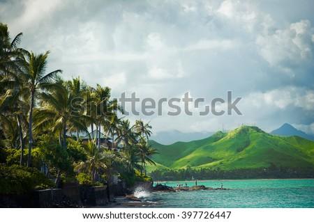 Lanikai Beach on the windward coast of Oahu, Hawaii Vacation  - stock photo