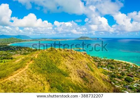 Lanikai Pillbox Hiking trail along a steep ridge leading to a World War II pillbox in southwest Oahu, Hawaii. - stock photo