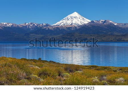 Lanin volcano, Lanin National Park, in the province of Neuqu�©n, Patagonia, Argentina - stock photo