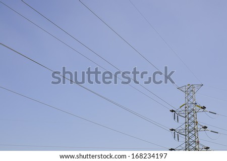 Lanscape is High-voltage lines leaning over to the pole. - stock photo
