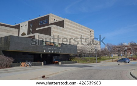 LANSING, MI - MARCH 26:  The Library of Michigan, shown on March 26, 2016, contains of the ten largest genealogical collections in the United States. - stock photo