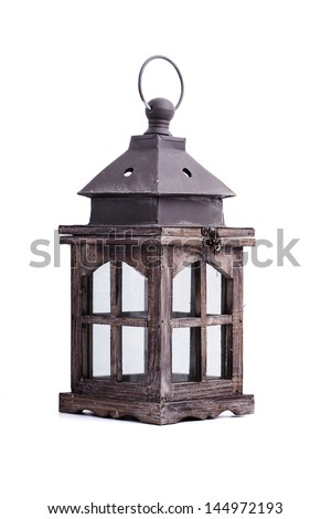 lantern isolated on white background - stock photo