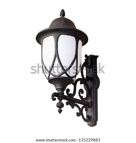 lantern Isolated on white with clipping path - stock photo