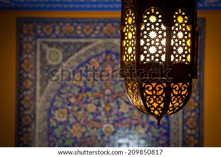 lantern lamp in a traditional islamic style  - stock photo