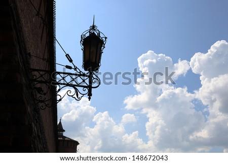 Lantern on the wall of Kolomna Kremlin in Russia - stock photo