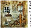 lanterns of Sevilla, vintage picture - stock photo