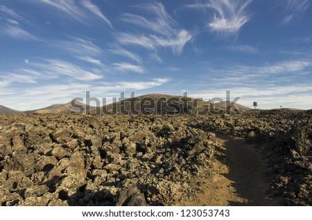 Lanzarote landscape. Nice volcanic zone in canary island - stock photo