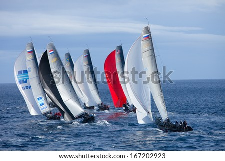 LANZAROTE, SPAIN - NOVEMBER 19: RC44 Class Association on Day 4 fleet racing in World Championship on November 19, 2011 on Puerto Calero, Lanzarote, Spain - stock photo