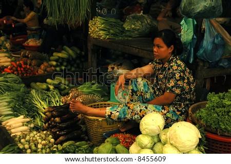 Lao market - stock photo
